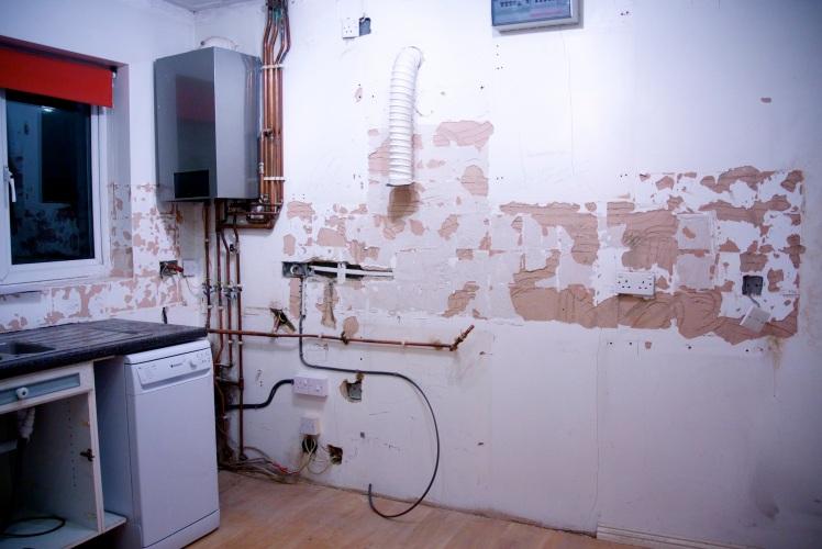 stripped kitchen