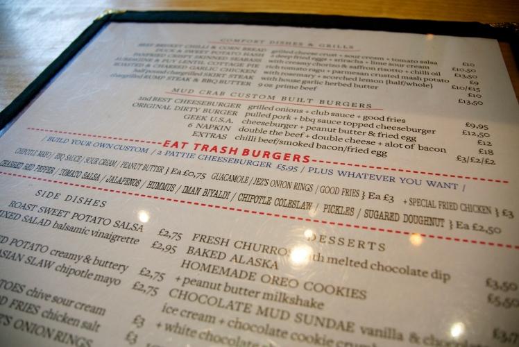 Mud Crab menu