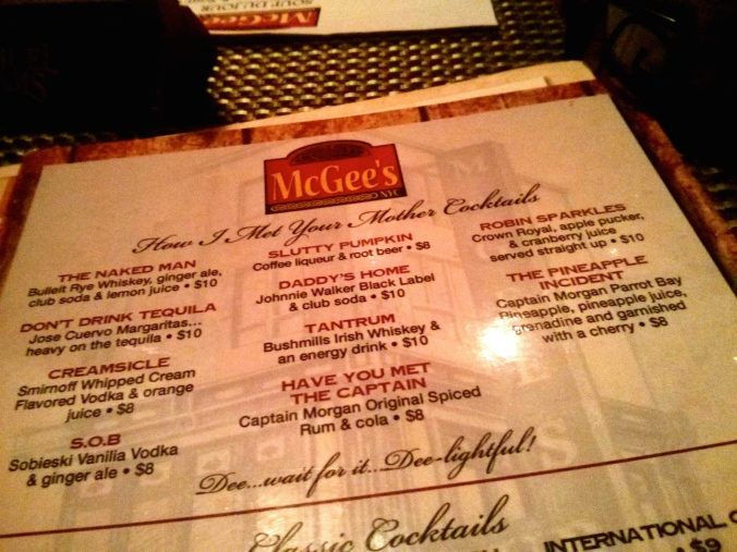 McGees Cocktail menu